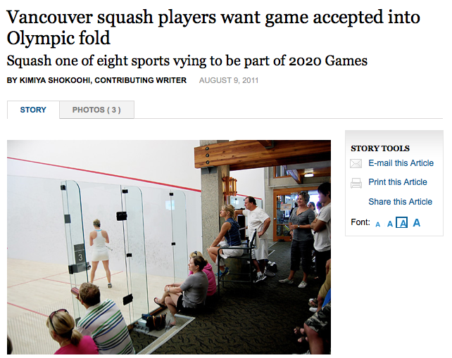 Vancouver Squash in the News