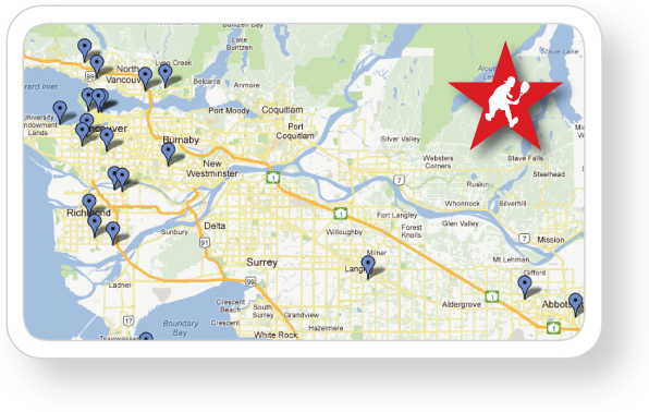 Map of Metro Vancouver Squash Clubs