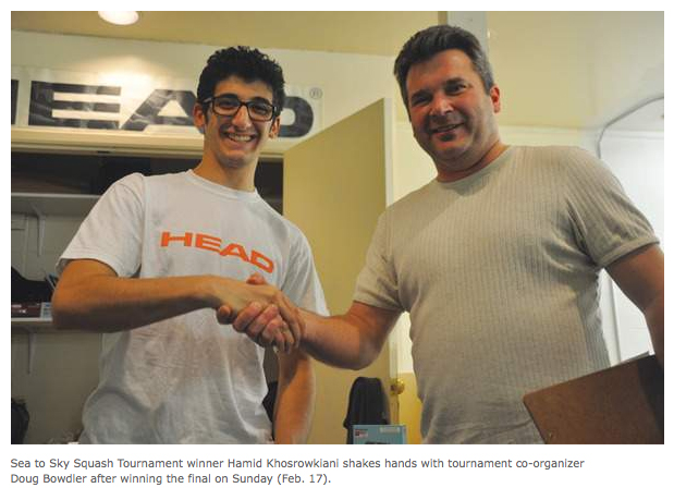 Hamid Khosrowkiani wins the 2013 Squamish Sea to Sky Squash Tournament